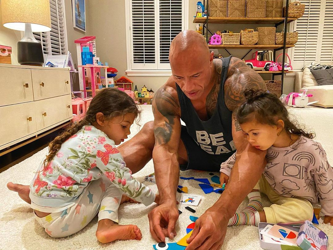 Dwayne Johnson The Rock with Daughters Jasmine Johnson and Tiana Gia Johnson