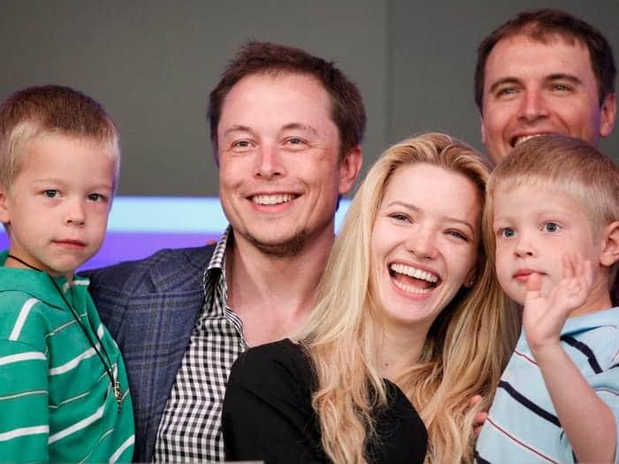 Elon Musk, Talulah Riley, Kimbal Musk, and two of Elon Musk's sons-min