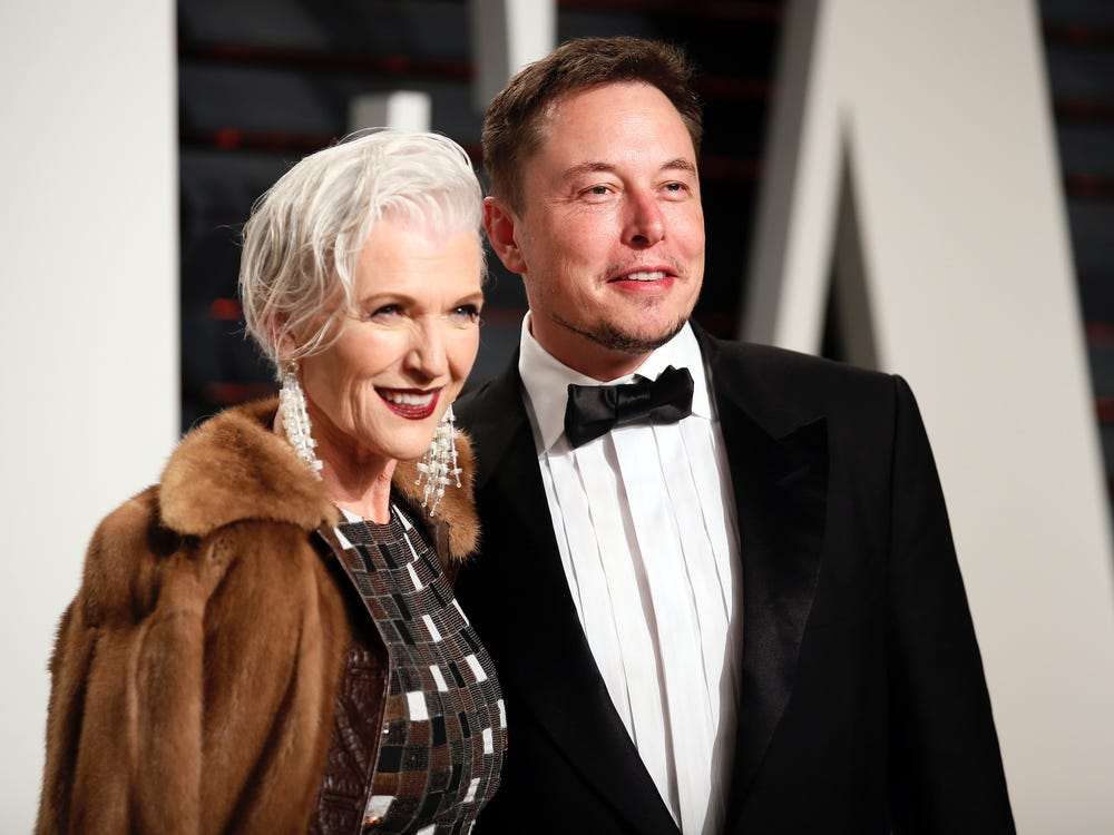 Elon Musk with his mother, Maye Musk